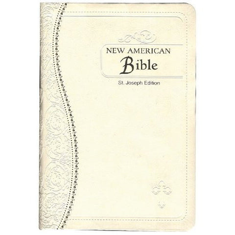 St Joseph New American Bible Illustrated (Revised Edition) Medium Size White Simulated Leather