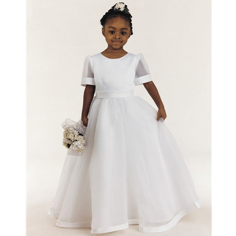 First Communion Dress with bow in back. Ivory Color, Size 10