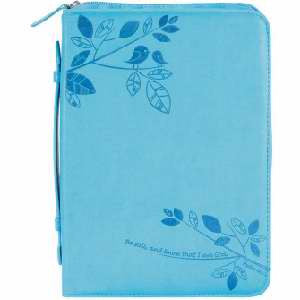 Large Bible Cover Aqua Psalm 46:10 with Handle