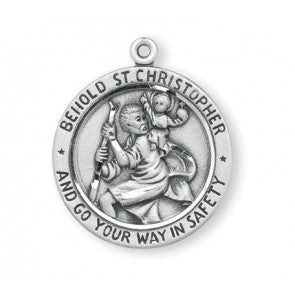 Sterling Silver Round St. Christopher 24""