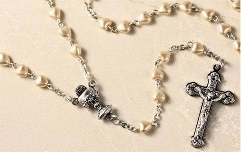 First Communion Rosary Heart Shaped Faux Pearl beads with Silver Chalice Centerpiece and Cross