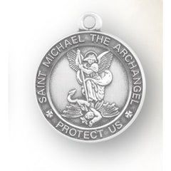 Sterling Silver Round St. Michael 18""