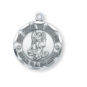 Sterling Silver Round St. Michael 24""