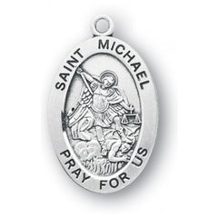 Sterling Silver Oval St. Michael 24""