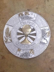 4.5'' Silver Round First Communion Plaque