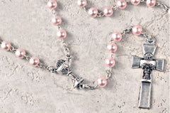 First Communion Pink Faux Pearl Rosary
