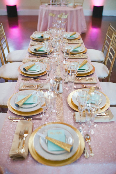 Blush Pink Sequin Tablecloths
