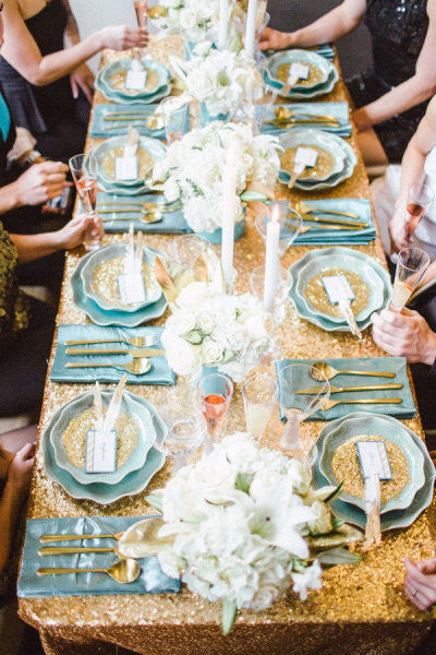 Metallic Sequin Tablecloths - Glitter and Glam!