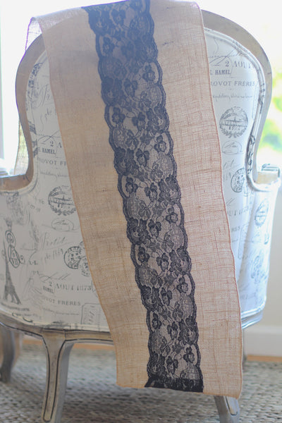 Classic French Black, White or Ivory  Lace on Natural Burlap.