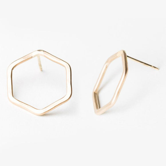 E127 - Hexagon Post Earring