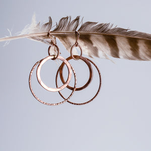 E107 - Triple Hoop Earring Hung from Center