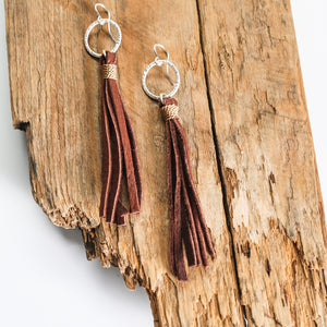 E134 - Leather Tassel Earrings