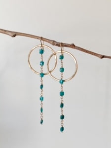 E2123 - gf large hoop with square turquoise dangles