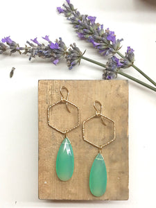 E1952 - textured hexagon with chrysocolla drops