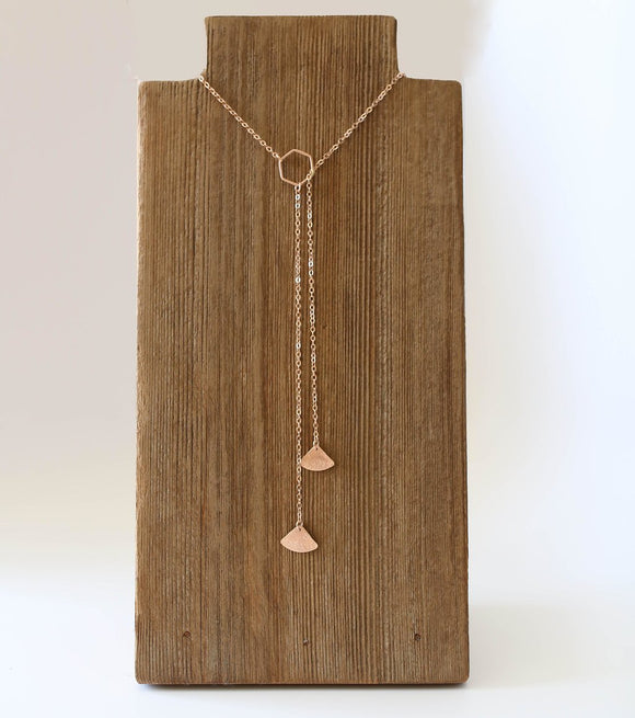 N219 - Fan Style Lariat Necklace