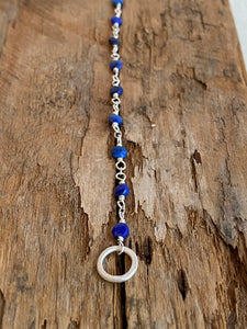 B2011 - ss mini forged link with small coin faceted lapis bracelet