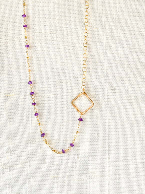 N210 - gf asymetrical amethyst necklace