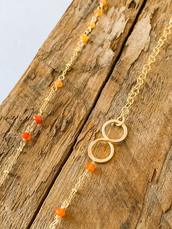 N210 - gf asymetrical fire opal necklace