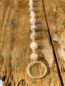 B1930 - ss twist link with pink opal bracelet