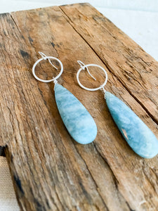E2008 - ss moss aquamarine drop earrings