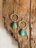 E2003 - gf forged hoops with turquoise drop earrings