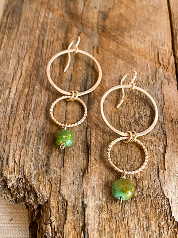 E2006 - gf forged double hoops with green turquoise earrings