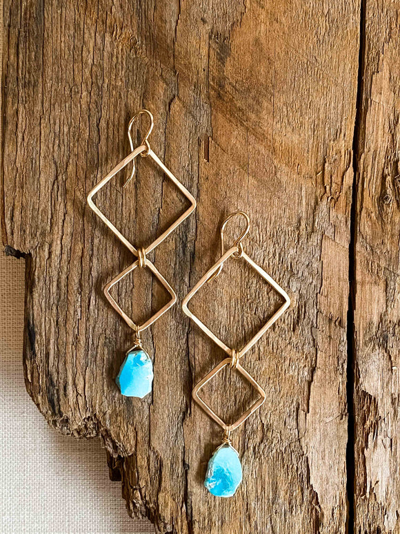 E2010 - gf forged double squares with natural turquoise slab earrings