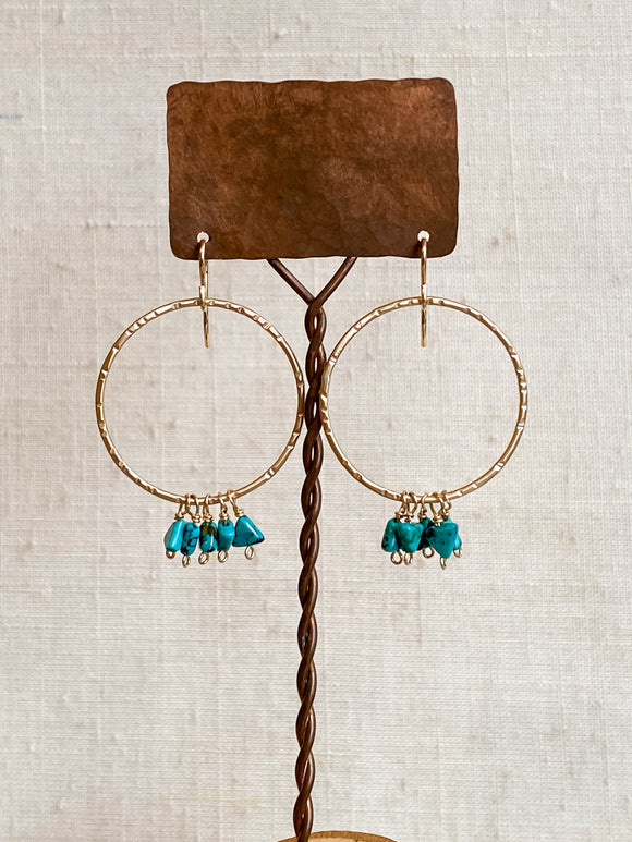 E2003.2 - gf large texuted hoop with turquoise triangle dangles