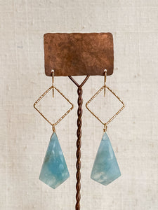 E2008 - gf forged square hoops with kite shaped moss aquamarine drops