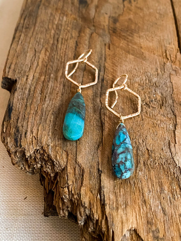 E2012 - gf forged hexagon link with chrysocolla drop earrings