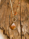 N1362 - gf necklace with rutilated quartz and mexican fire opal