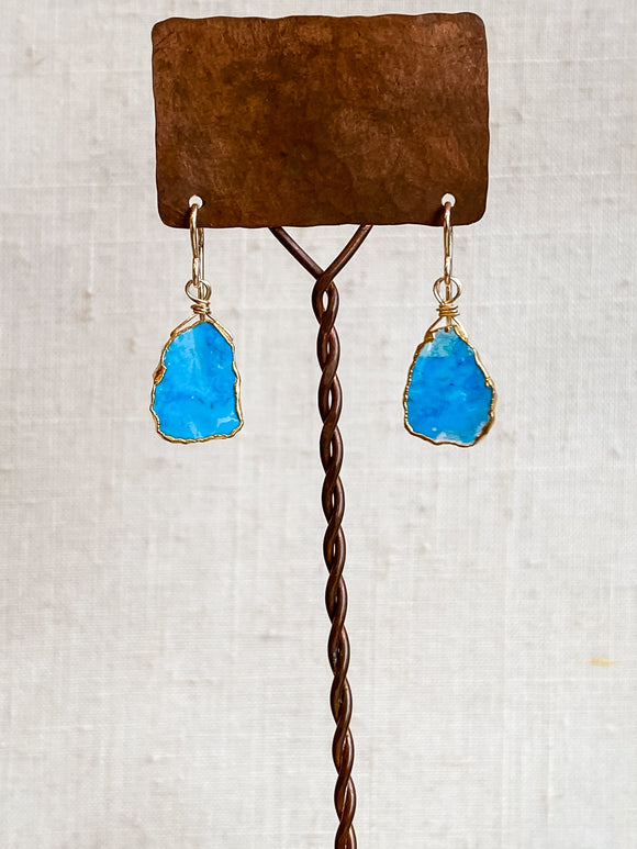 E2007 -gf  turquoise slab vermiel wrapped earrings