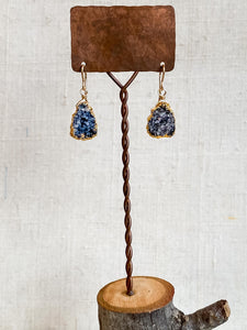 E2007 -gf druzy quartz vermiel wrapped earrings