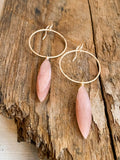 E2013 - gf large textured hoop with marquise shaped peach moonstone