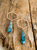 E2012 - rose gf forged hexagon link with chrysocolla drop earrings