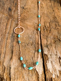 N210 - rose gf asymetrical mini turquoise necklace