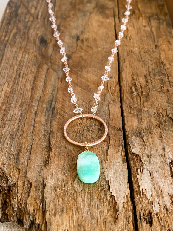 N1931 - rose gf hoop necklace with chrysoprase and crystal quartz points