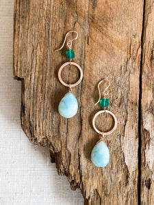 E1986 - rose gf drop hoop earrings with peruvian opal and green onyx