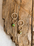 E2006 - gf small forged double hoops with green turquoise earrings