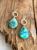 E2003 - gf forged small hoops with turquoise drop earrings