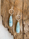 E2008 - gf moss aquamarine drop earrings hexagon hoop