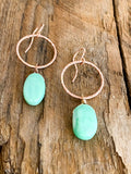 E1931 - rose gf small hoop with flat smooth chrysoprase
