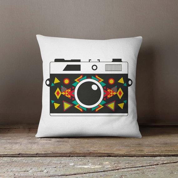 Retro Photo Geometric Camera Pillowcase