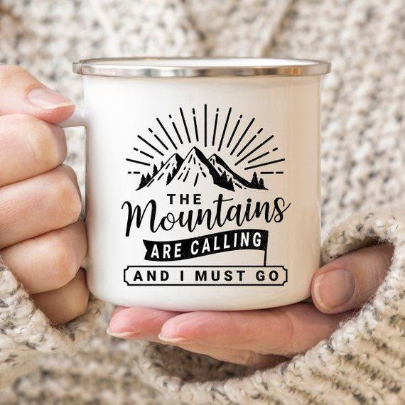 The Mountains Are Calling Camping Mug