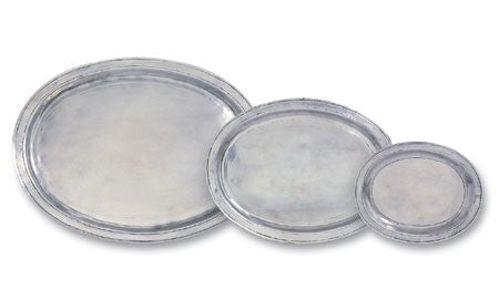 Oval Incised Trays By Match Pewter