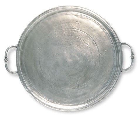 Round Tray With Round Handles By Match Pewter