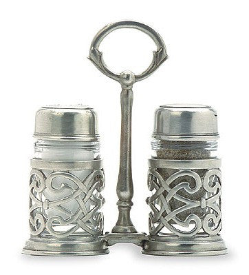 Cutwork Salt and Pepper With Caddy By Match Pewter