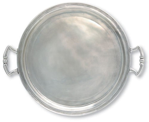 Large Round Tray With Handles By Match Pewter