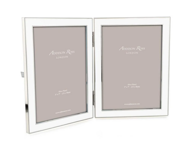 Enameled Double Picture Frame
