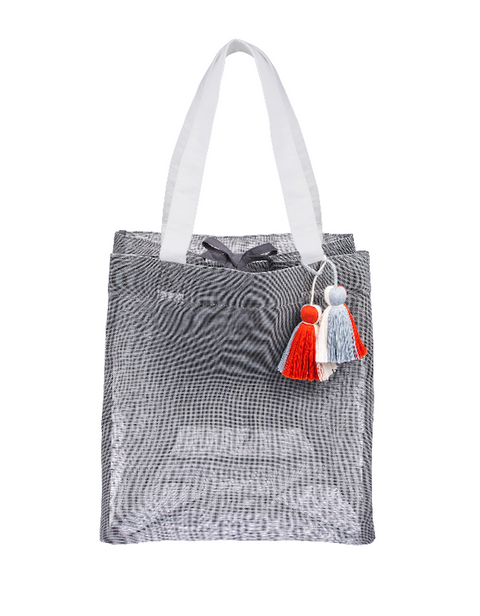Mesh Beach Tote with pom poms
